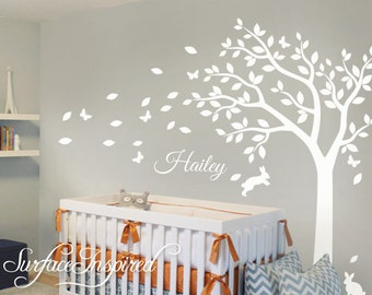 Nursery Wall Decals White Tree Wall Decal, Large Tree Decal for Nursery With Personalized Name Wall Decal
