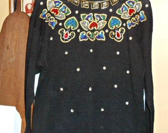 Dressy Tops Womens Beaded Tops Beaded Sweater Vintage Sweater Vintage Sweater Embellished Top 80s Sweater