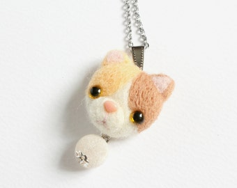Needle Felted Pastel Calico Cat Necklace or Brooch or Ring or Shawl Pin