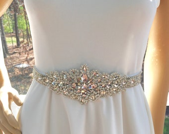 Wedding Bridal Sash, Bridal Wedding Sash, Rhinestone Wedding Sash, Bling Crystal Sash, Sparkling   Swarovski Sash