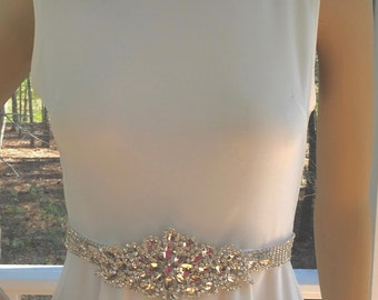 Rhinestone Bridal Sash, Wedding Gown Accessory,Crystal Sash,  Bridal Party Belt