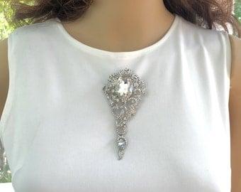 Rhinestone Bridal Brooch, Rhinestone Wedding Pin, Wedding  Bridal Pin, Rhinestone Bridal  Pin