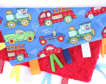 Personalized Tag Ribbon Minky Security Blanket- Trucks, Trains, things that go,  Boy Ribbon Blanket