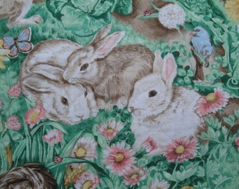 "35"" x 42"" Piece of Cotton Quilted Reversible Fabric for Baby Blanket Bunnies Clouds Birds Ducks Butterflies Flowers Farm Animals S119"