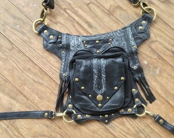 Black with Antique brass Hardware and Variegated Leather Accents Steampunk Dieselpunk Leg Holster