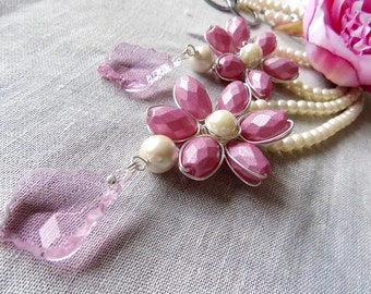 SET OF 2 Girls room pink curtain tiebacks faux pearls, glass crystals flowers - made to order