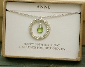 30th birthday gift for her, peridot necklace silver, August birthstone gift for sister necklace - Lilia