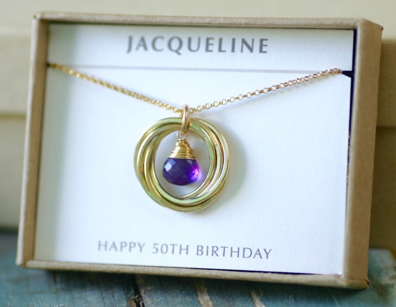 50th birthday gift for wife necklace gold amethyst jewelry