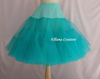 TEAL Tea Length Crinoline. EXTRA Fullness Petticoat. Available in Other Colors.