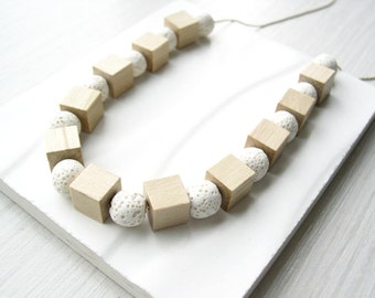 Natural Wood Necklace - 5th Anniversary Gift, White Lava Jewelry, Cube, Modern, Satin Gold, Neutral, Silver, Simple, Beachy, Summer, Boho