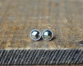 Simple Pyrite Studs in Sterling Silver - Small Faceted Stud Earrings