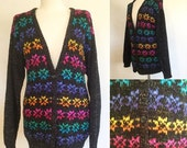 On SALE Vintage 80s / Multi Colored / Rainbow / V Neck / Cardigan / Sweater / Medium