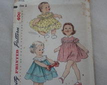 1950s Girls' Dress, Toddler Dress, Puff Sleeves, Baby Girl Dress Pattern- UNUSED Vintage 50s Simplicity Sewing Pattern 1112 Size 2 Breast 21
