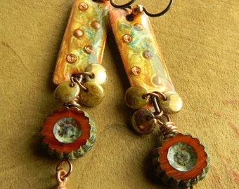 Boho Tribal Jewelry Artisan Earrings Copper Resin Orange Rust Bohemian Beaded