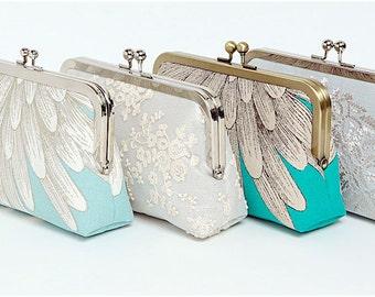 Ivory Lace Linen Bridal Clutch, Silver Metallic Linen, Silk Clutch, Bridesmaid Gift, Wedding clutch