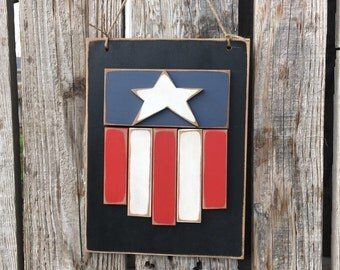 Americana flag Stars and Stripes wood sign summer hand painted red white and blue summer Fourth of July Independence Day military
