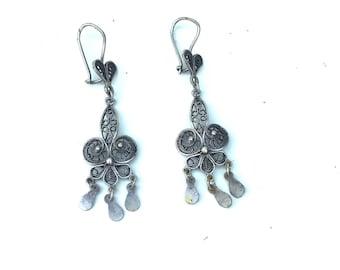 Sterling Silver Filigree Dangle Earrings Made in Turkey