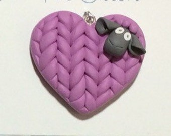 Sheep Heart Purple Pink Polymer Clay Knit Ornament or Pendant