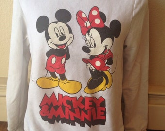Mickey and Minnie Mouse Good Vibes sweatshirt size women's xs retro 1980s 1990s Disneyland