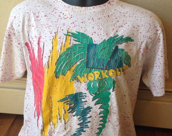 Authentic vintage 1980's splatter paint LA Workout t shirt one size fits all crop top