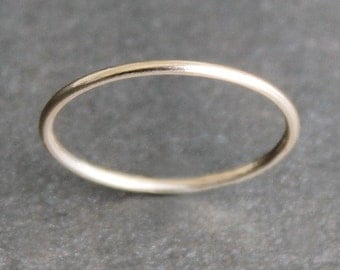 14K Solid Gold Skinny Ring - 1mm Simple Band (Size 2 - 9) - 18 Gauge