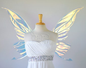 Titania Iridescent Fairy Wings with Swarovski Crystals in Clear with Pearl Veins as seen on Katy Perry