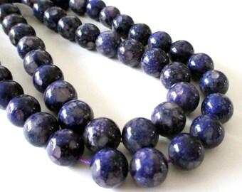 """Dark Purple Jasper Beads - Mosaic Round  Beads - Natural Smooth Gemstone - Drilled Snake Skin Beads - 12mm - 7.5"""" Strand - DIY Jewelry"""
