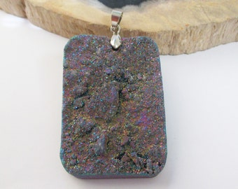 Druzy Geode Pendant - Metallic Crystal Druzy - Rainbow Quartz - Rectangle Shaped - Large Sparkly Chunky Rectangular Necklace - Silver Bail