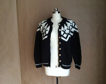 vintage  black wool cardigan sweater / loose knit / black and white