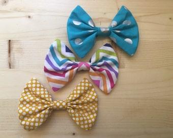 Hair bow 3 pack polka dots chevron blue yellow