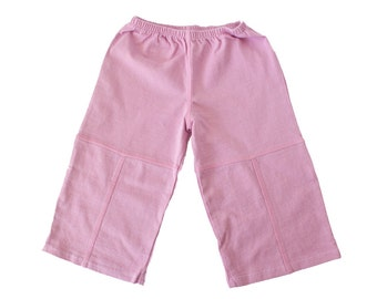 Pink with Pink stitching Organic Cotton Baby Pants 6-12, 12-18, 18-24 Soft
