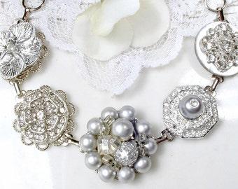 OOAK Silver Gray Pearl, Rhinestone & Crystal Bridal Bracelet, Vintage Cluster Earring Bridesmaid Jewelry, Wedding Gift Old Hollywood Glam