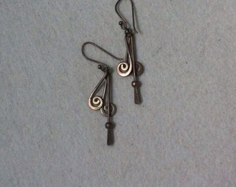 Vintage Sterling Silver Gypsy Dangle  Earrings