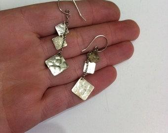 Vintage Sterling Silver Diamond Dangle Earrings