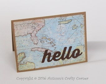 Hello - Homemade Card - Sewn