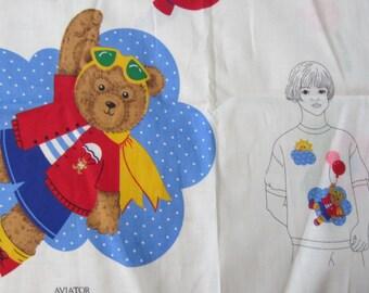 Teddy Bear Appliques Cranston Print Works 100% Cotton Fabric Panel