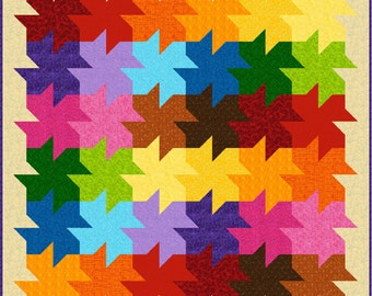 """WE All FALL DOWN - 70""""x 70"""" Double or 50""""x 50"""" Lap - Quilt-Addicts Pre-cut Patchwork Quilt Kit or Finished Quilt"""