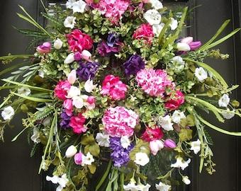 Spring Wreath, Summer Wreath, Floral Door Wreath, Etsy Wreaths, White Pink and Purple Wreath, Morning Glory Wreath