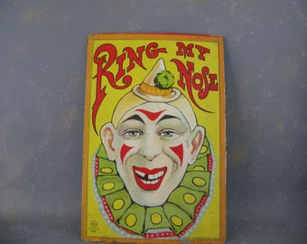Clown Game Print, Game box, milton bradley, ring my nose, clown print