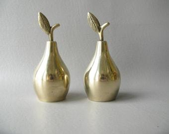 Vintage Brass Bells, Pear, Set, Fruit, home decor
