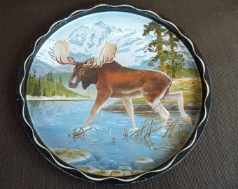 Vintage Round Metal Moose in the Mountains Serving Tray
