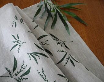 Linen Tea Towel Screen Printed Tea Towel Hand Printed Green&Natural Australian Wattle