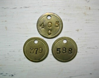 3 Brass Number Tags