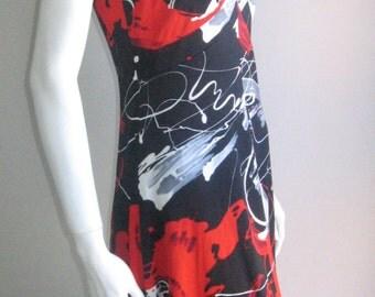 70s vtg graphic artsy dress