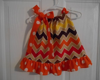 Girls pillowcase dress multi autumn color chevron with ruffle color of your choice infant thru 6 years