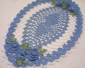 crocheted oval doily delf blue and white  handmade
