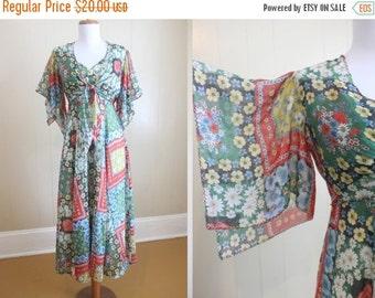 20% Off FALL SALE Maxi Dress 70's Vintage Patchwork Print Angel Sleeve Bolero XS