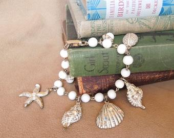 Vintage Seashell Charm Bracelet, White, Starfish, Rhinestones