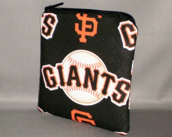 Coin Purse - Gift Card Holder - Card Case -Small Padded Zippered Pouch - Mini Wallet -San Francisco Giants - Baseball