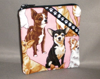 Chihuahua Coin Purse - Gift Card Holder - Card Case -Small Padded Zippered Pouch - Mini Wallet - Dog